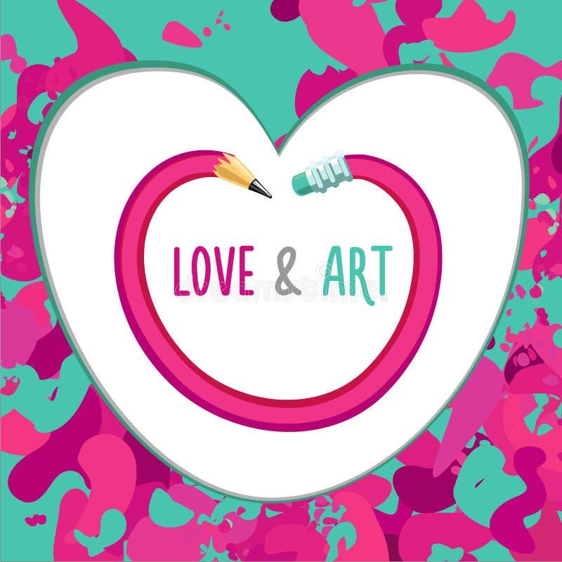 爱和艺术 与铅笔的创造性和启发海报 皇族释放例证
