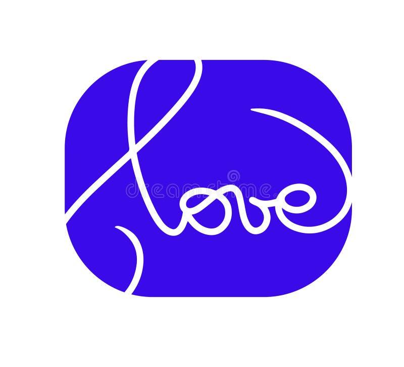 爱商标 与时髦的文本的蓝色贺卡设计愉快的情人节庆祝的,婚礼 在蓝色的行情象上写字 库存例证