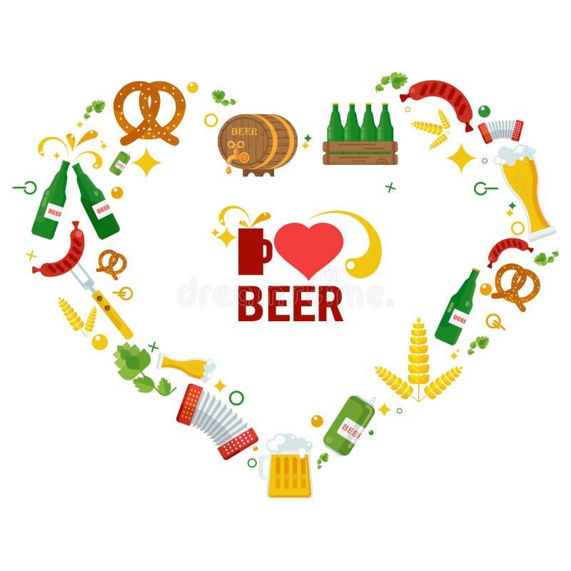 爱啤酒海报 向量例证