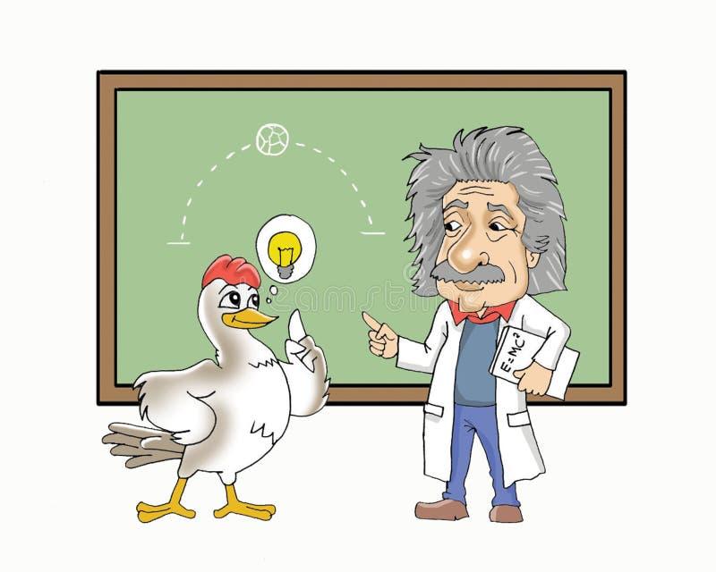 爱因斯坦和鸡动画片 向量例证