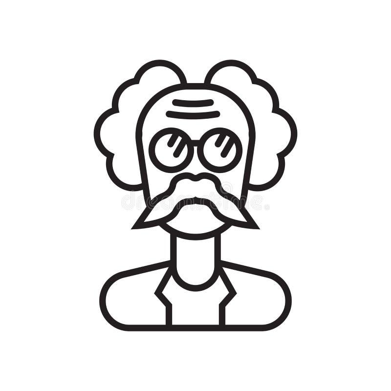 爱因斯坦象在白色backgroun和标志隔绝的传染媒介标志 向量例证