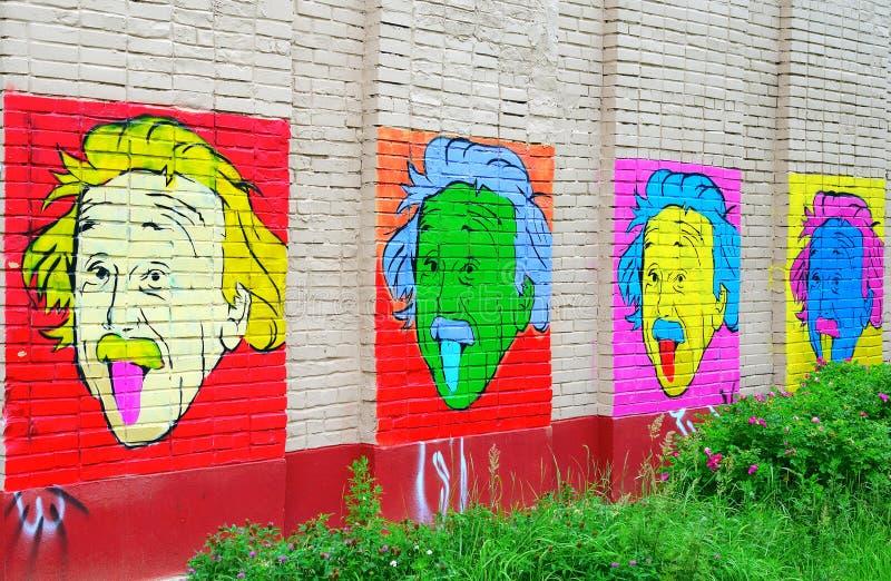 爱因斯坦画象在墙壁上的 免版税库存图片