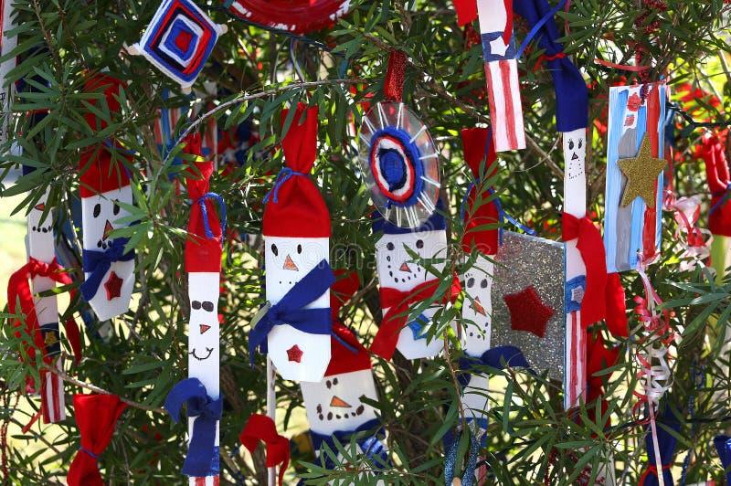 爱国圣诞树在迈尔斯堡,佛罗里达,美国中 图库摄影
