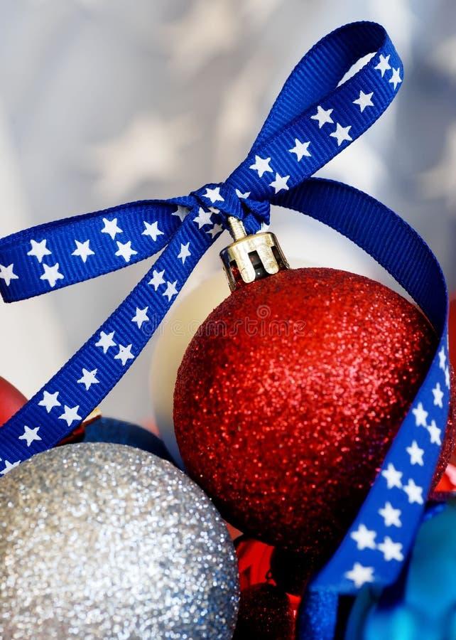 爱国圣诞节装饰品 库存照片