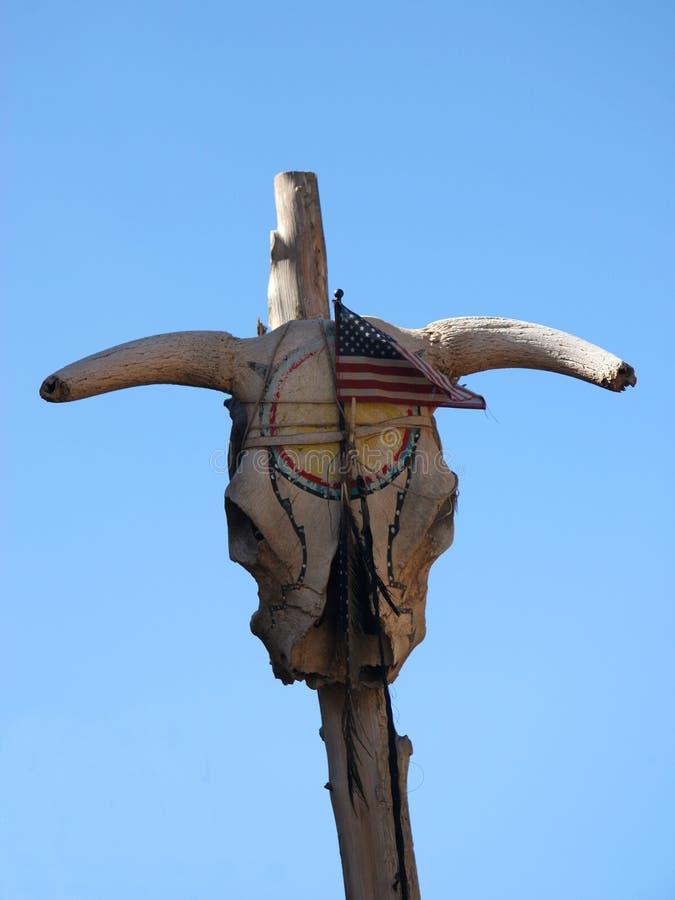 爱国心表示在Taos de Pueblo,新墨西哥 图库摄影