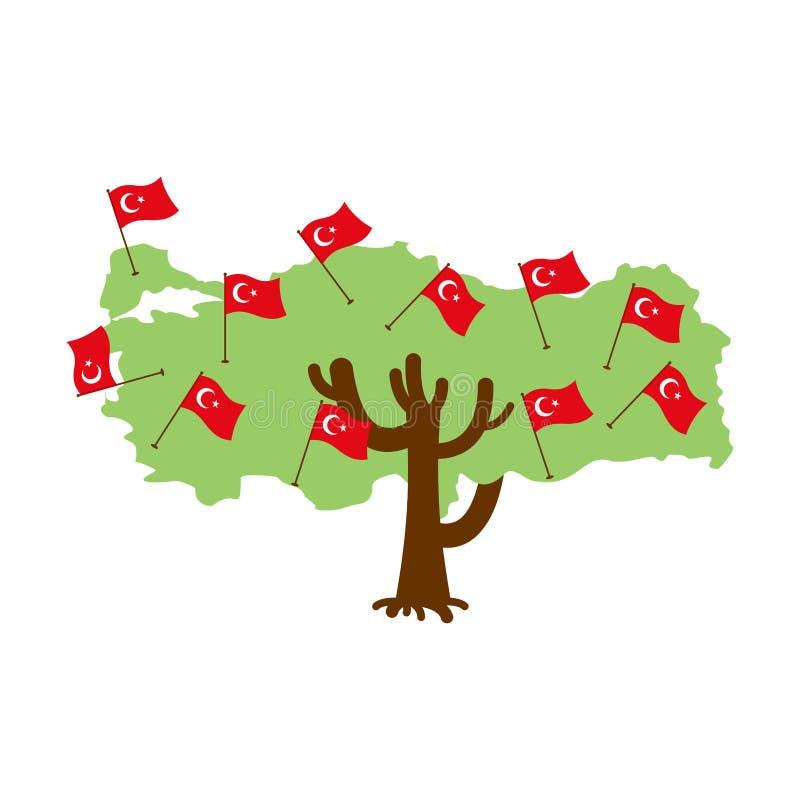 爱国树土耳其地图 土耳其标志 库存例证
