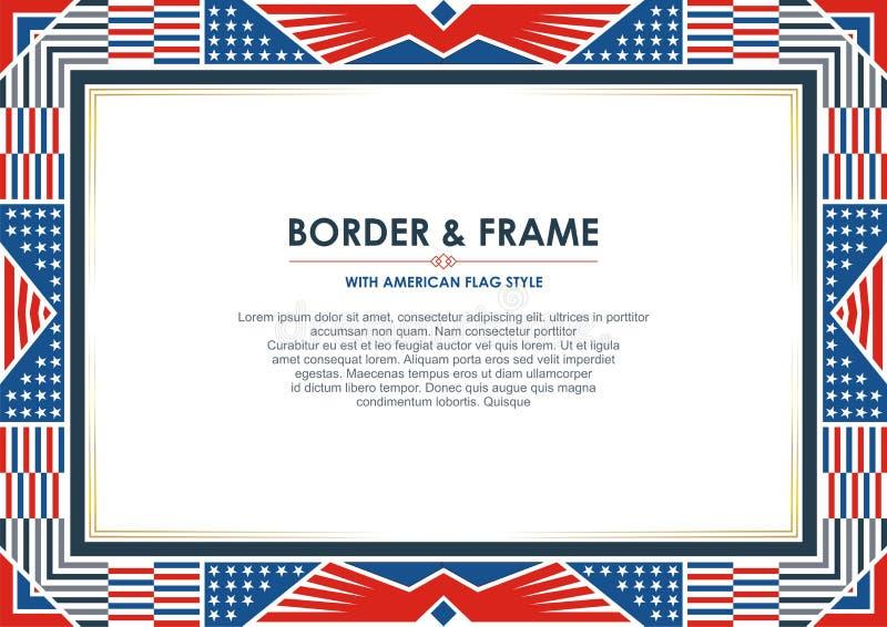 爱国框架或边界,与美国国旗样式和颜色设计 向量例证