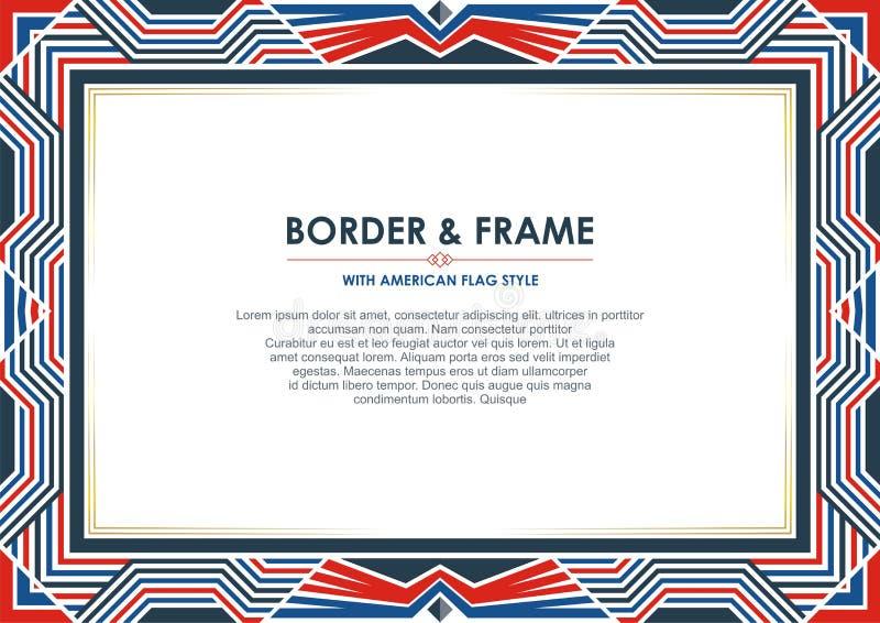 爱国框架或边界,与美国国旗样式和颜色设计 皇族释放例证