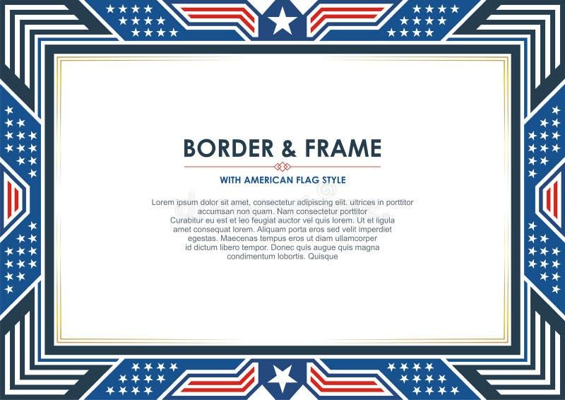 爱国框架或边界,与美国国旗样式和颜色设计 库存例证