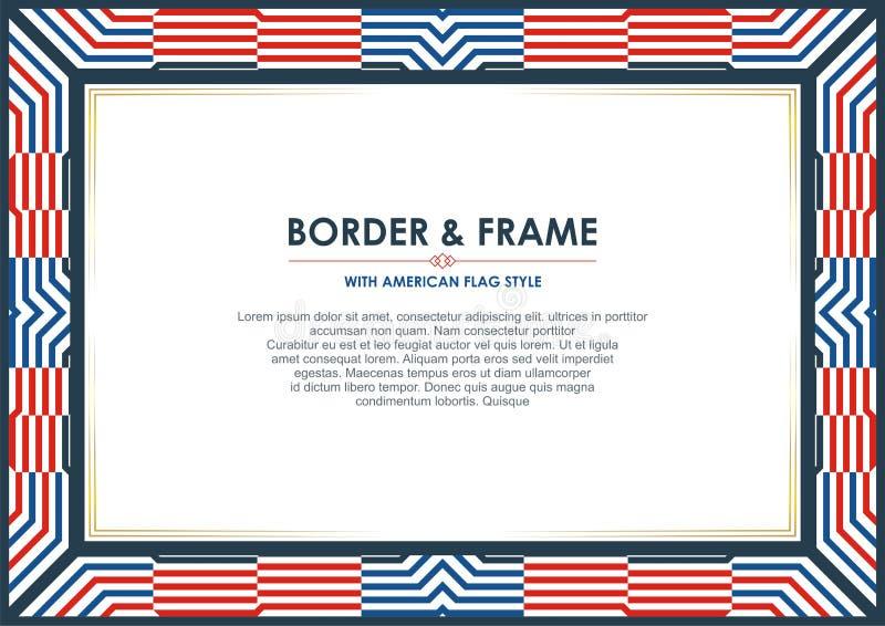爱国框架边界,与美国国旗样式和颜色设计 库存例证