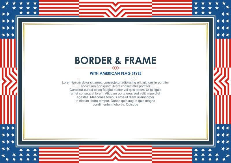 爱国框架边界,与美国国旗样式和颜色设计 向量例证