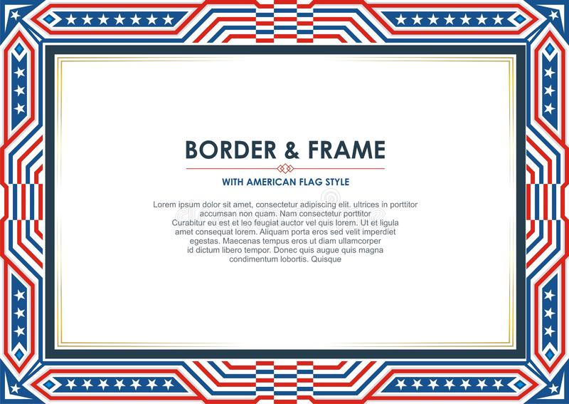 爱国框架边界,与美国国旗样式和颜色设计 皇族释放例证