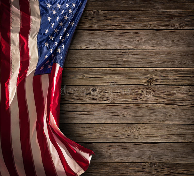 爱国美国庆祝-年迈的美国旗子 库存图片