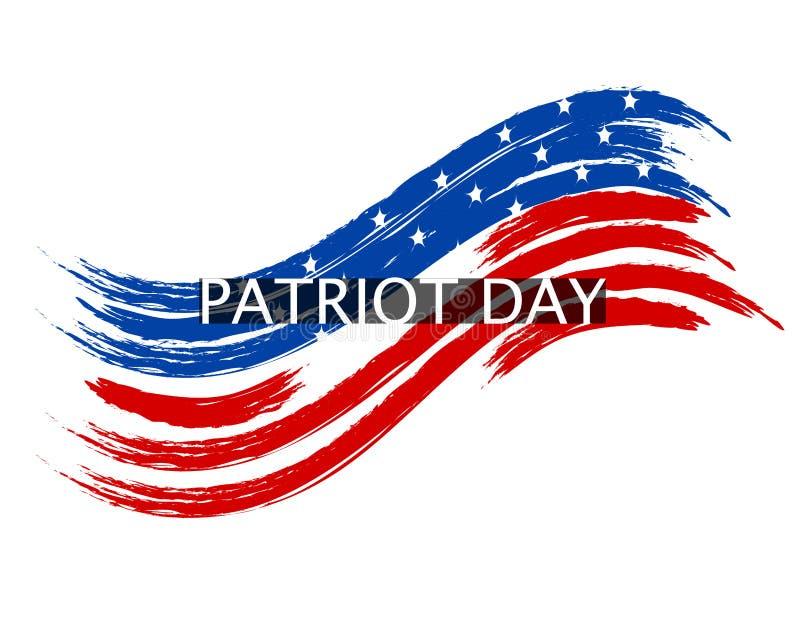 爱国者在国旗的颜色的天波浪在白色背景的 登记 例证 向量例证