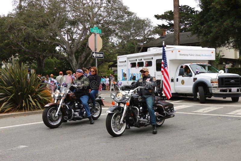 爱国者在摩托车的卫兵车手 库存图片