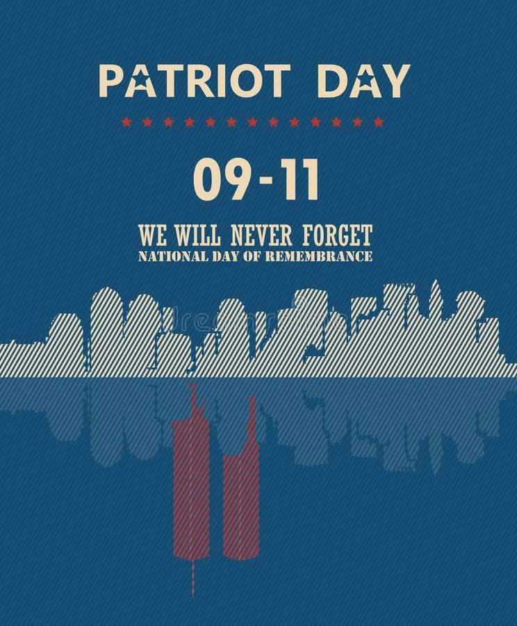 爱国者天与镜象反射的传染媒介海报 9月11日 9 / 11与双塔 库存例证