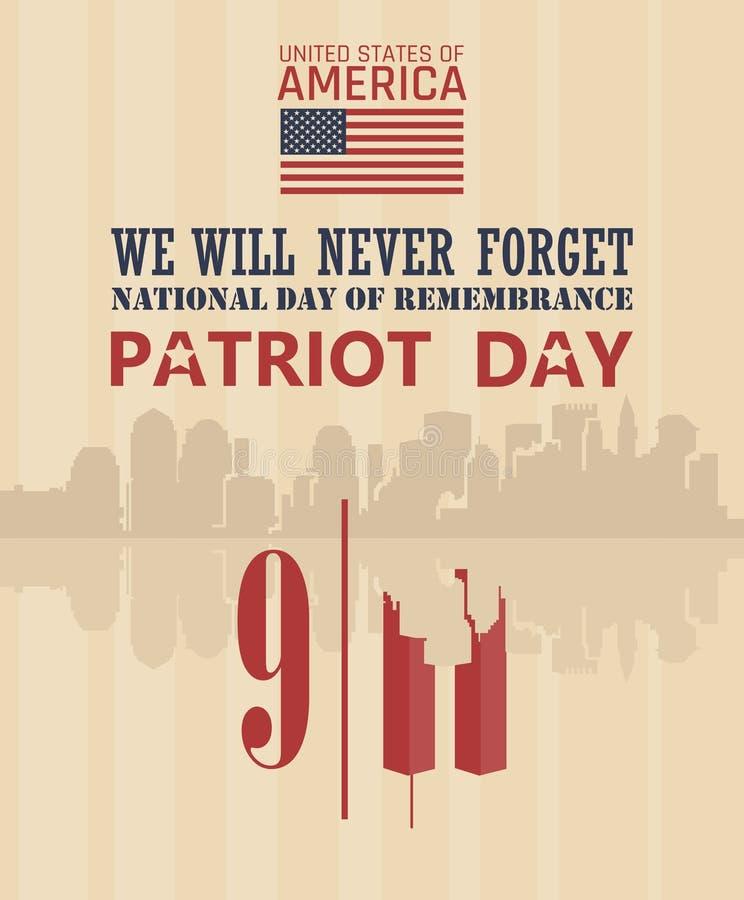 爱国者天传染媒介海报 我们不会忘记 9月11日 9 / 11与双塔 皇族释放例证