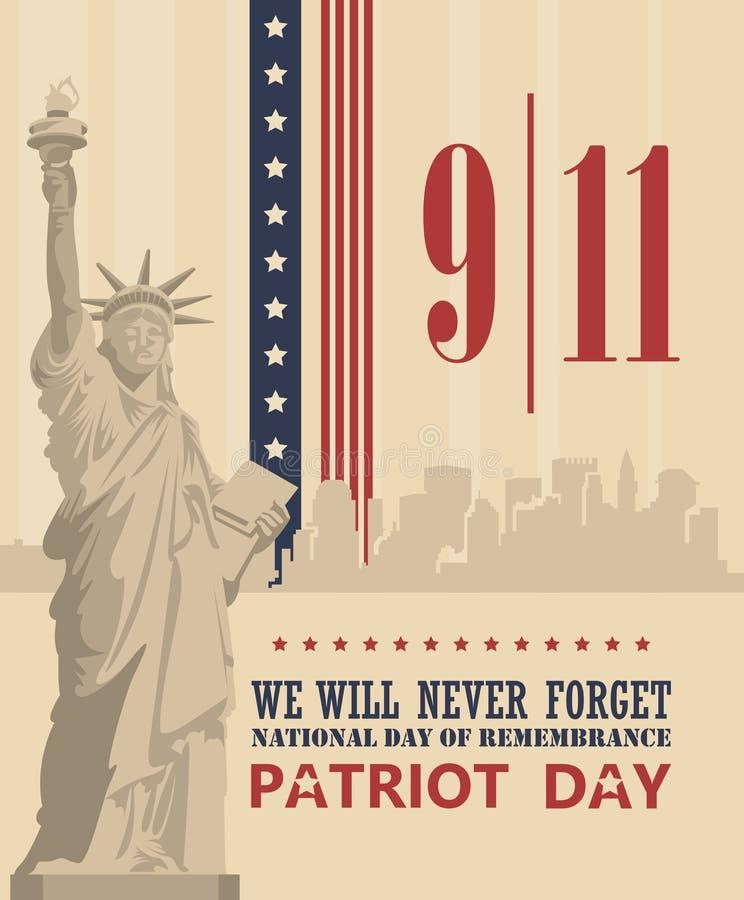 爱国者天传染媒介海报 9月11日 9 / 11 向量例证
