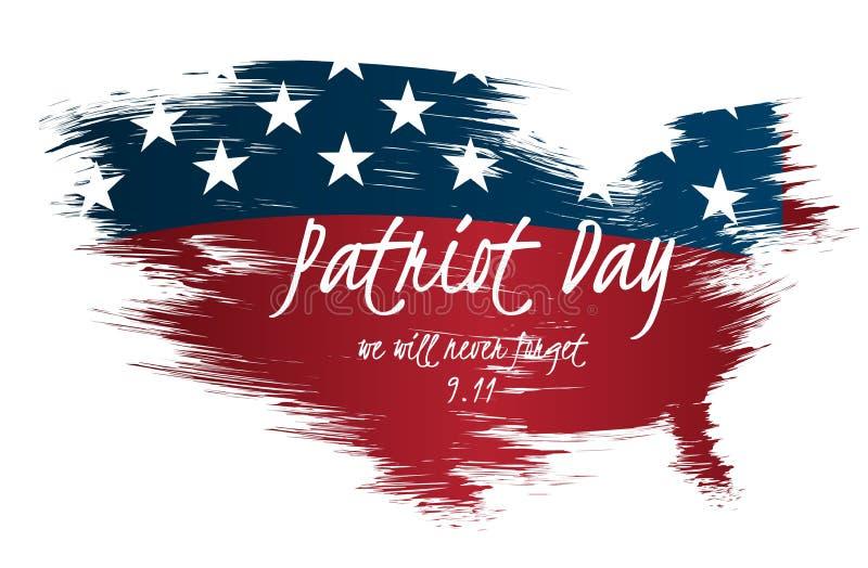 爱国者天创造性的例证、海报或者横幅模板与美国的映射当旗子背景 库存例证
