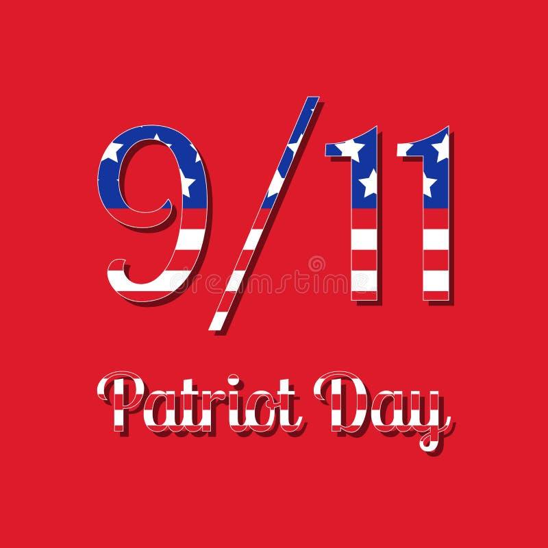 爱国者天在美国 9月11日 与美国旗子图象的文本 红色背景 皇族释放例证
