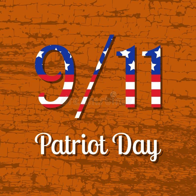 爱国者天在美国 9月11日 与美国旗子图象的文本 背景棕色树荫纹理木头 向量例证
