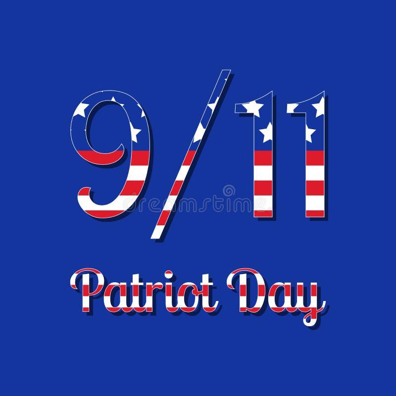 爱国者天在美国 9月11日 与美国旗子图象的文本 背景看板卡祝贺邀请 皇族释放例证