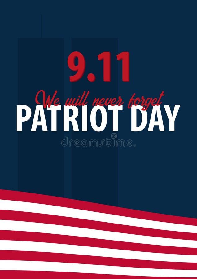 爱国者天背景 9月11日 我们不会忘记 皇族释放例证
