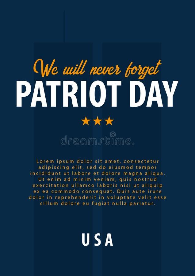 爱国者天背景 9月11日 我们不会忘记 库存例证