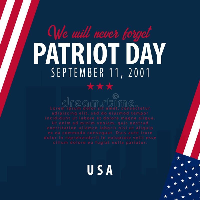 爱国者天背景 9月11日 我们不会忘记 向量例证