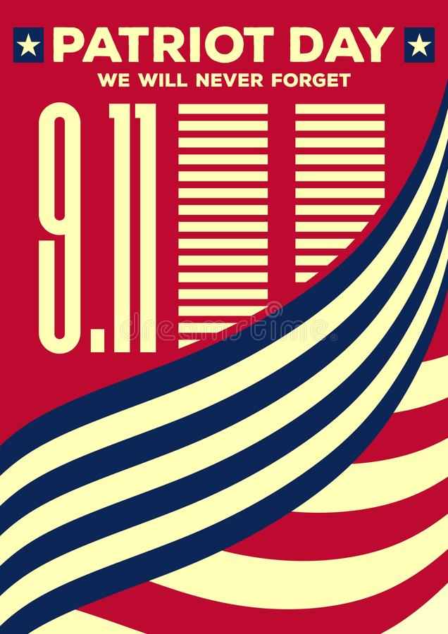 爱国者天葡萄酒横幅或海报 我们不会忘记9月11日 向量例证