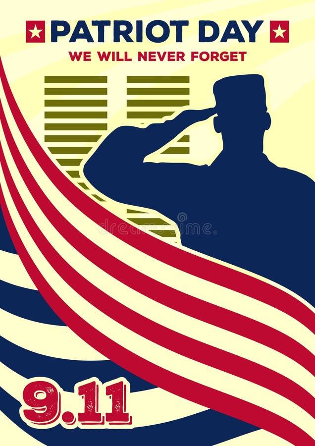 爱国者天葡萄酒横幅或海报 我们不会忘记9月11日 库存例证