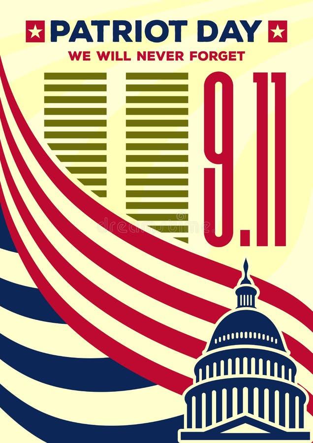 爱国者天葡萄酒横幅或海报 我们不会忘记9月11日 皇族释放例证