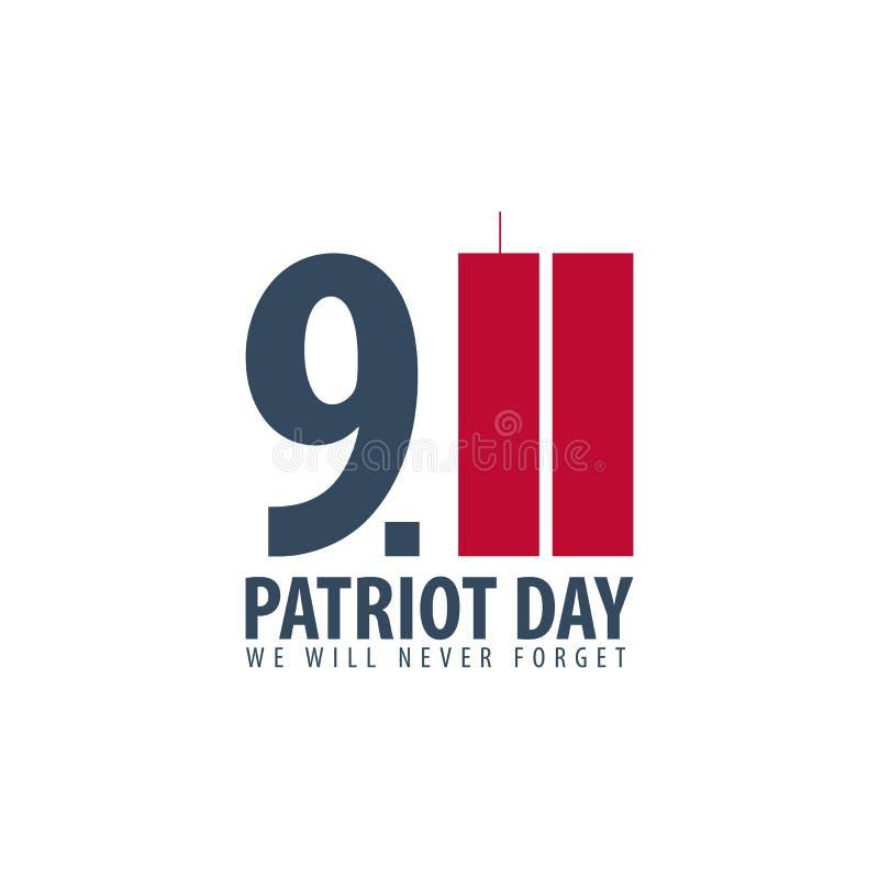 爱国者天象征或商标 9月11日 我们不会忘记 皇族释放例证