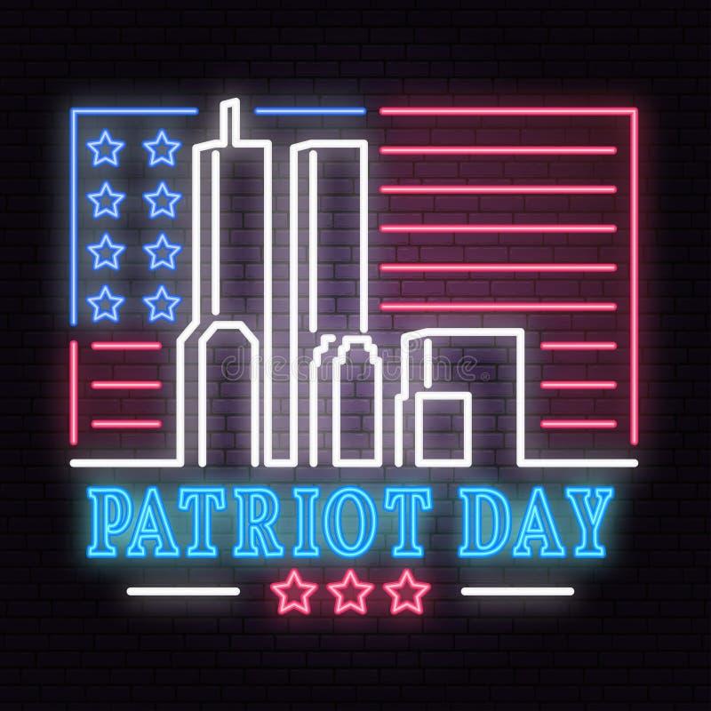 爱国者天霓虹灯广告 我们不会忘记2001年9月11日 爱国横幅或海报 库存例证