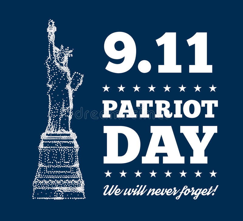 爱国者天, 9月11日 城市自由newyork雕象日落 皇族释放例证