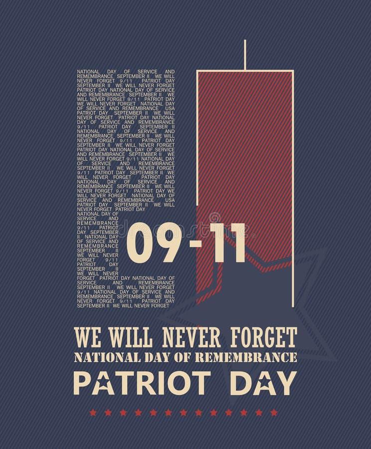 9/11爱国者天,从未忘记 皇族释放例证