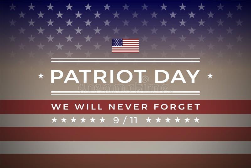 爱国者天9/11 2001年9月11日横幅传染媒介背景 库存例证