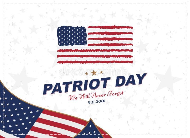 爱国者天9月11日 我们不会忘记的2001 与美国的旗子的印刷术白色背景的 向量字体combin 皇族释放例证