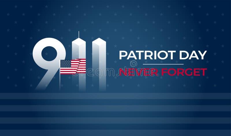 爱国者天9月11日9/11美国横幅-美国旗子, 911纪念和从未忘记在蓝色背景的字法 库存例证