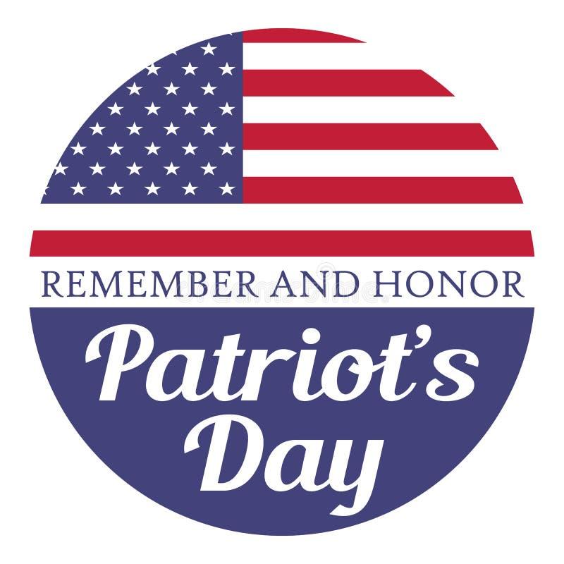 爱国者` s天 记住并且尊敬 与美国旗子的例证 库存例证