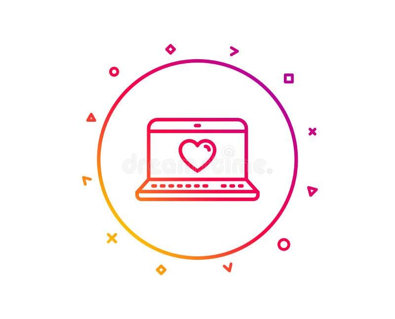 爱国际日期更改线象 在笔记本标志的心脏 向量 库存例证
