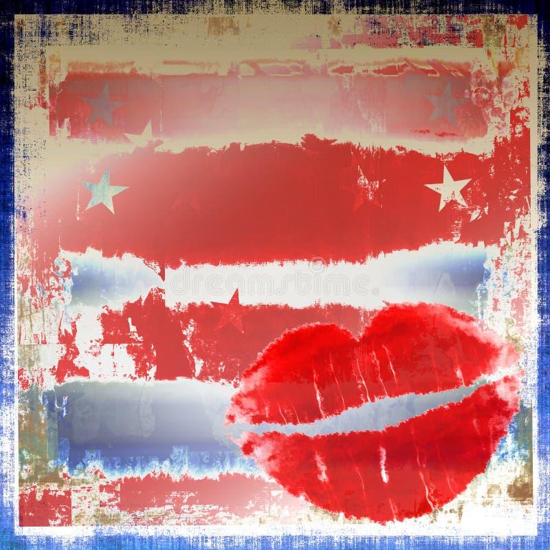 爱国grunge的嘴唇 向量例证