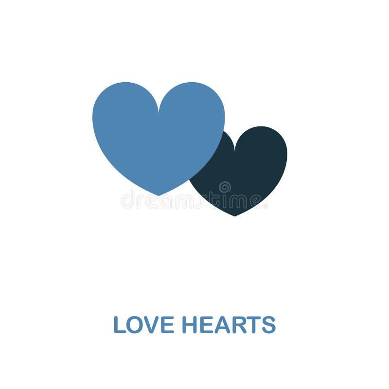 爱在两种颜色的设计的心脏象 简单的元素例证 从蜜月汇集的爱心脏创造性的象 对网de 向量例证