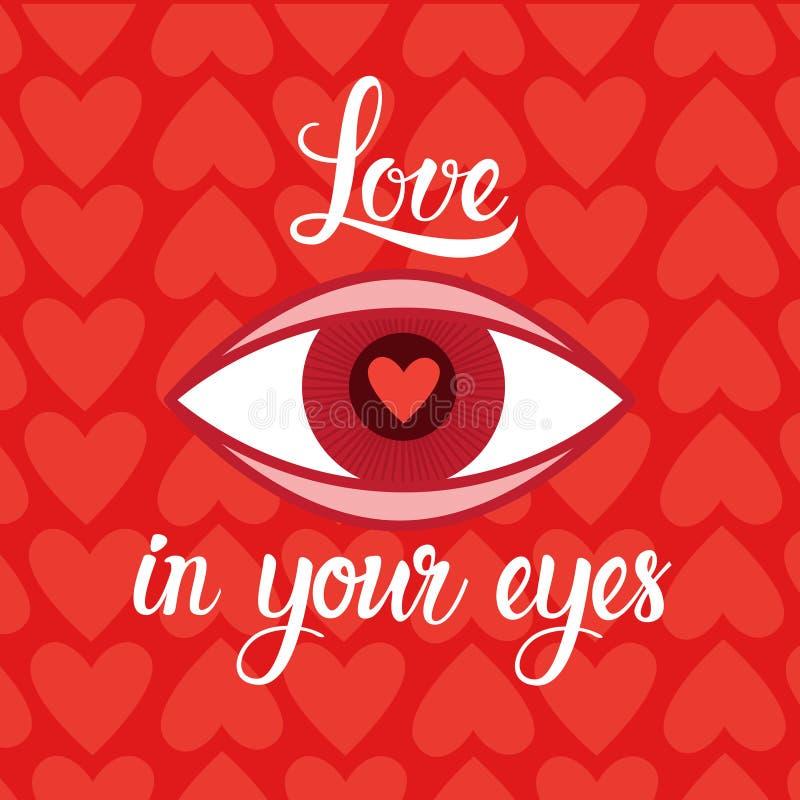 爱在情人节减速火箭的卡片的眼睛心脏形状红色背景中 库存例证