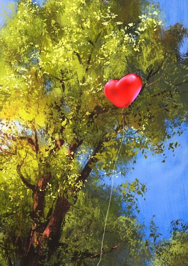 爱在树枝困住的心脏气球 向量例证