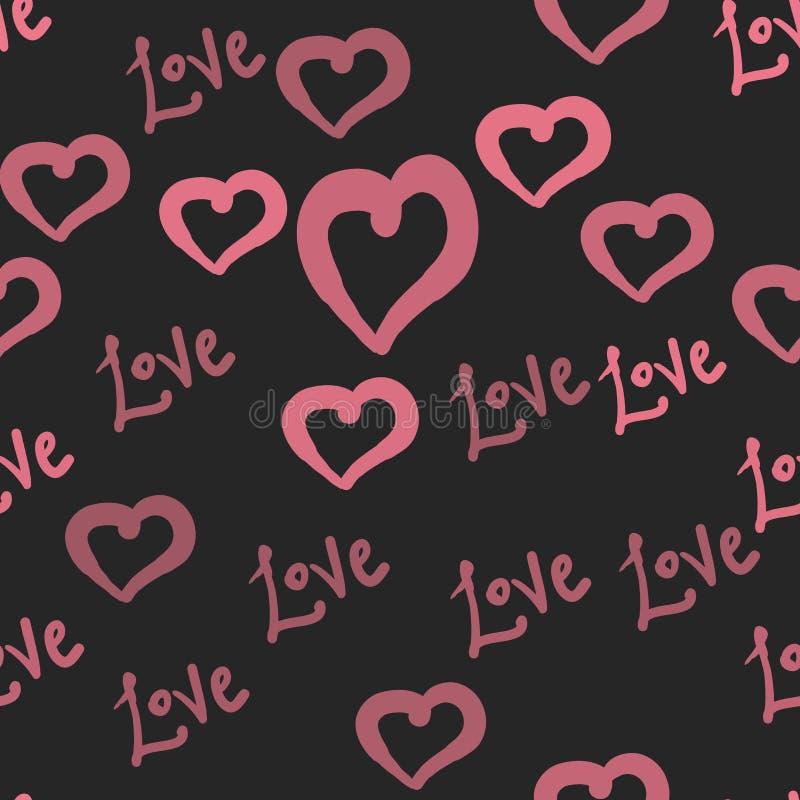 爱在桃红色心脏华伦泰` s天无缝的样式墙纸黑暗的背景例证传染媒介的瓦片 向量例证