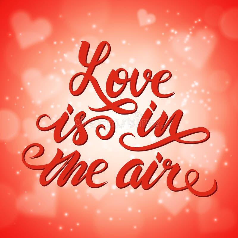 爱在空气Â-浪漫手拉的字法海报 向量例证