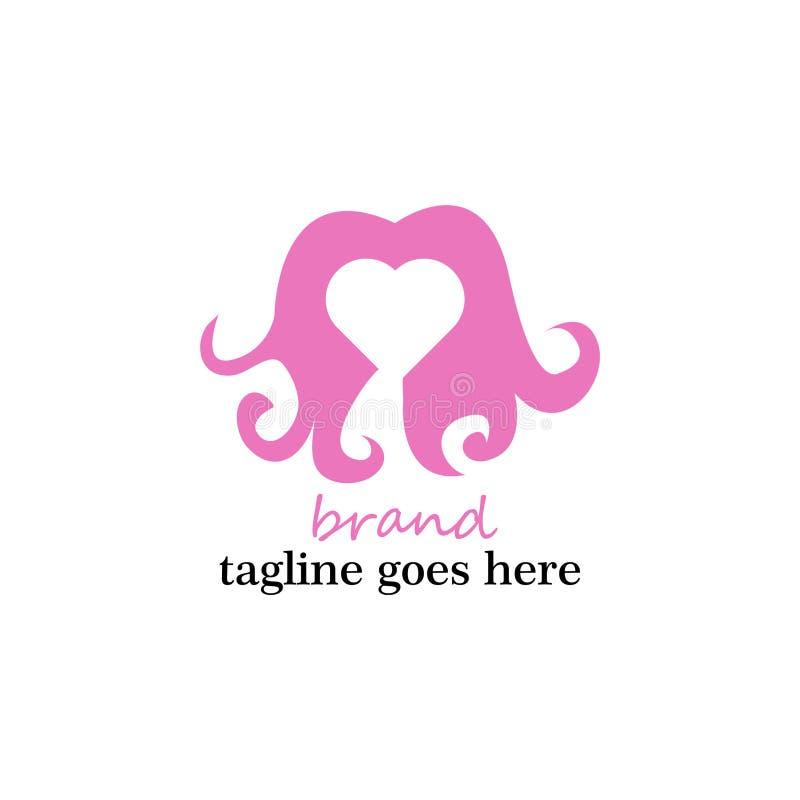 爱在花梢桃红色的头发商标 库存例证
