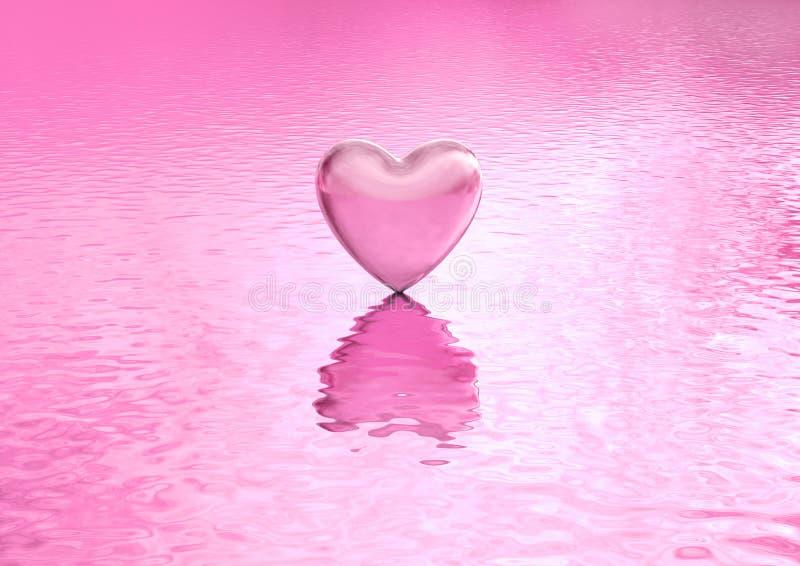 爱在水的背景心脏 免版税库存照片