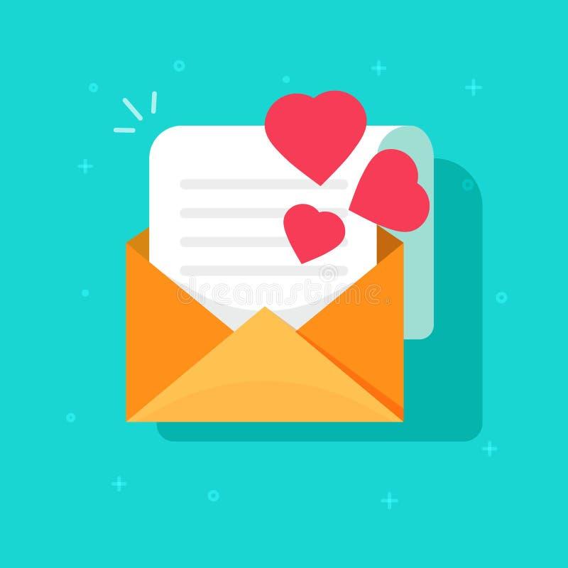 爱坦白邮件或给传染媒介象平的动画片、开放信封与读的纸板料信和心脏,想法发电子邮件  向量例证